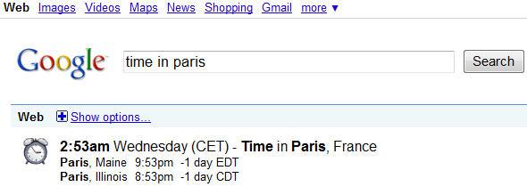 Google搜索引擎实用技巧第四招-搜索全球某一城市/地区的当地时间