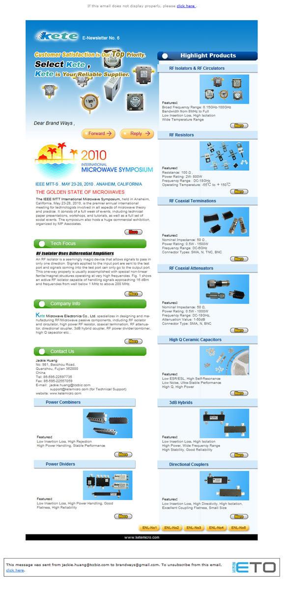 E-Newsletter制作案例(外贸企业类)