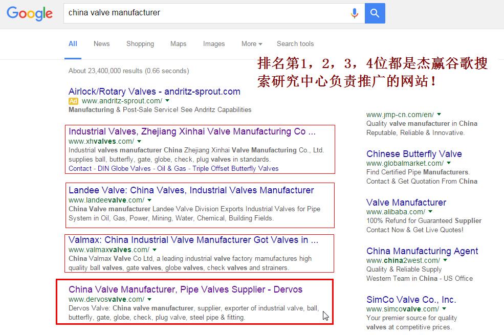 China valve manufacturer谷歌排名第1,2,3,4位